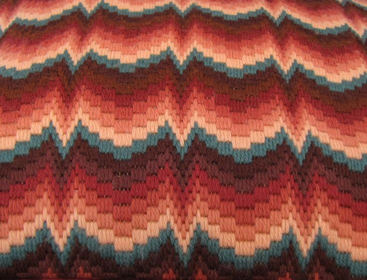"""Mello Bargello 2 - Vintage 1970s Flame Stitch Embroidered Pillow in Warm Chestnut & Sienna Browns with Dark Teal Blue, 14"""" Throw Pillow. $48.00, via Etsy."""