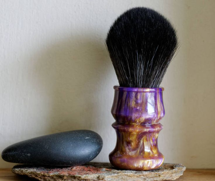 Shaving Brush - Purple and Gold Resin Lathe-Turned Handle with Synthetic BOSS Knot by LoveYourShave on Etsy