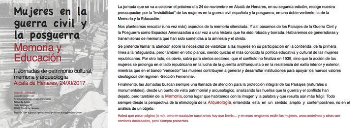 Mujeres en la guerra civil y la posguerra: memoria y educación. Alcalá de Henares 24/XI/2017