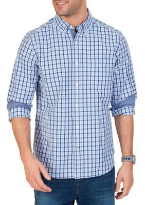 Nautica Men's Classic Fit Marine Plaid Shirt - Linen Blue - 2Xl