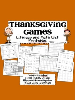 This is a GREAT collection of Thanksgiving printable math and literacy games for Pre-K. The graphics on the printables are all black and white so y...