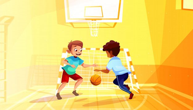 Download Boys Playing Basketball Illustration Of Black Afro American Kid With Ball In School Gymnasium For Free Boys Playing Cartoon Background Vector Illustration