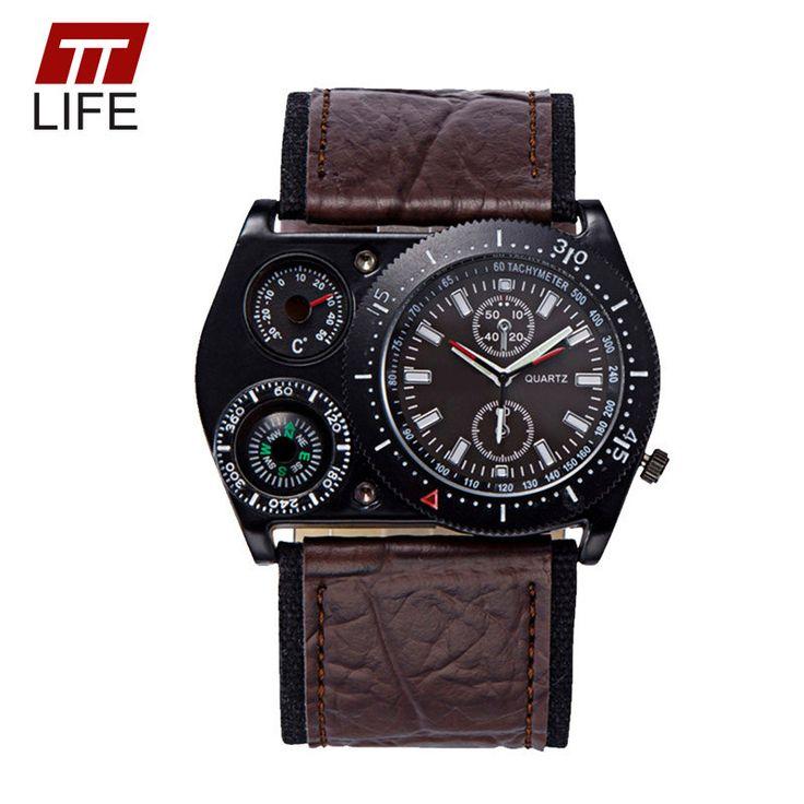 TTLIFE Luxury Mens Quartz Military Leather Strap Wrist Watches Men Fashion Compass Thermometer Decoration Sports Watch Men Clock