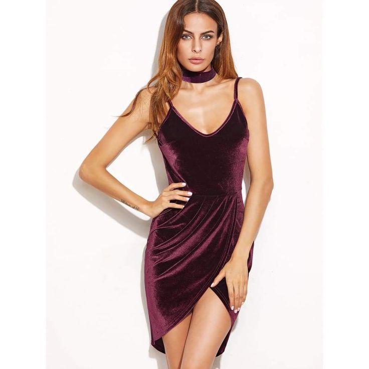 Burgundy Backless Ruched Velvet Wrap Cami Dress