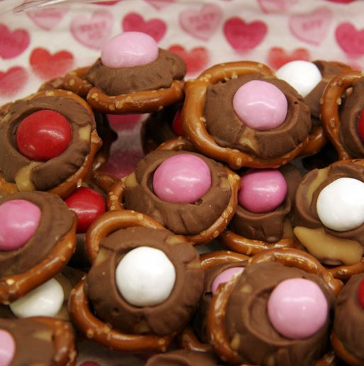 pretzels with hersey kiss melted and m amp m on top