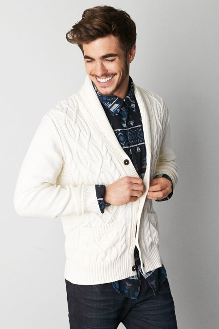 American Eagle Outfitters Frozen Ivory American Eagle Mixed Stitch Shawl Cardigan, Mens