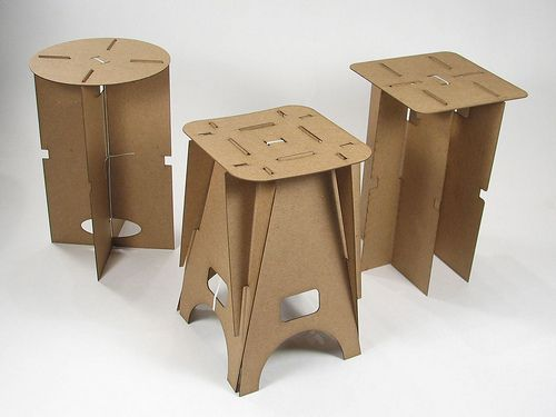 flat pack cardboard stools....check out the board this pin is from,  Brittney.
