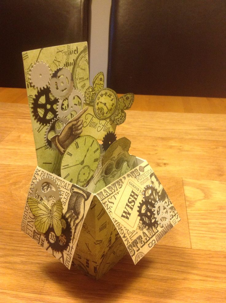 Exploding box card using docrafts chronology .