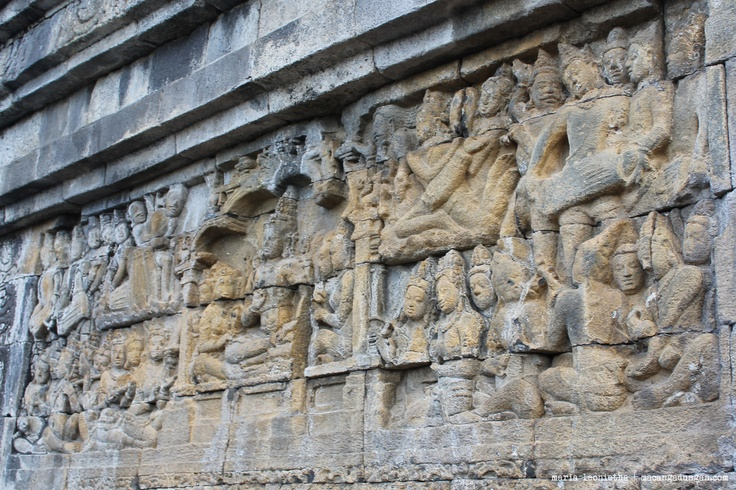 Reliefs on the wall of the temple.