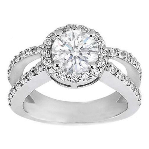 Pave Set Split Band Round Diamond Butterfly Engagement Ring 0.60 tcw.