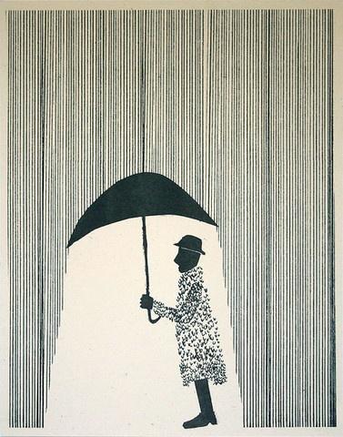 """Raincoat"" 11x14 Risograph Print  by Ben Kafton. Available at Able + Baker  $20"
