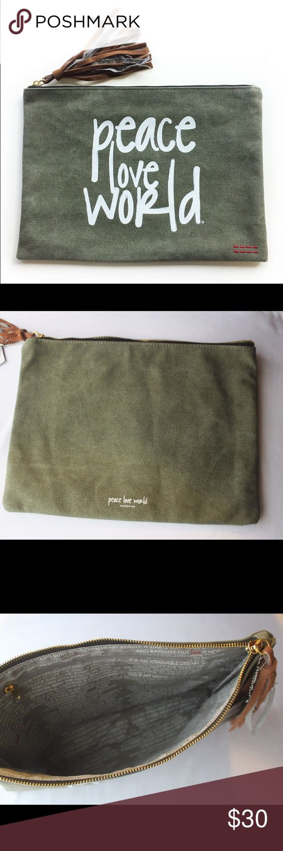"""Peace Love World Women's Green Holly Clutch Fun and perfect for the summer Dimensions 9.5"""" L x 12.5"""" W Actual pictures ❌No trades please. If you have any questions about this item I will be more than happy to answer them. Peace Love World Bags Clutches & Wristlets"""