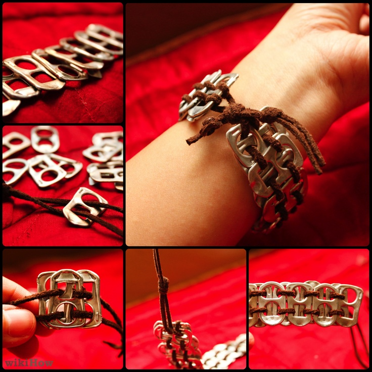 Soda (or beer) can tab bracelet. Jeremy certainly drinks enough for me to make SEVERAL of these. :o)