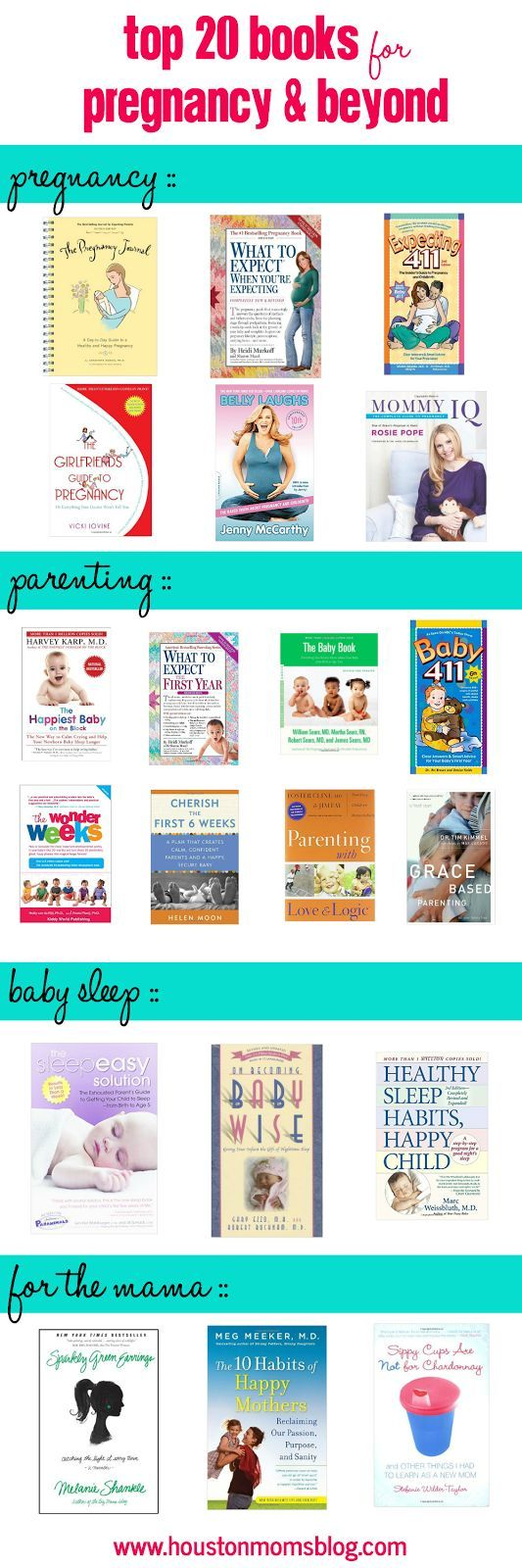 Top 20 books for pregnancy and beyond. Great books for new moms and veteran moms. Best pregnancy, parenting, baby sleep, and mama books! Great list!