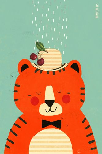 Tijger print - Pimpelpluis - https://www.facebook.com/pages/Pimpelpluis/188675421305550?ref=hl - (nursery print illustration kids children tiger art poster dieren kinderen cute illustratie animal retro)