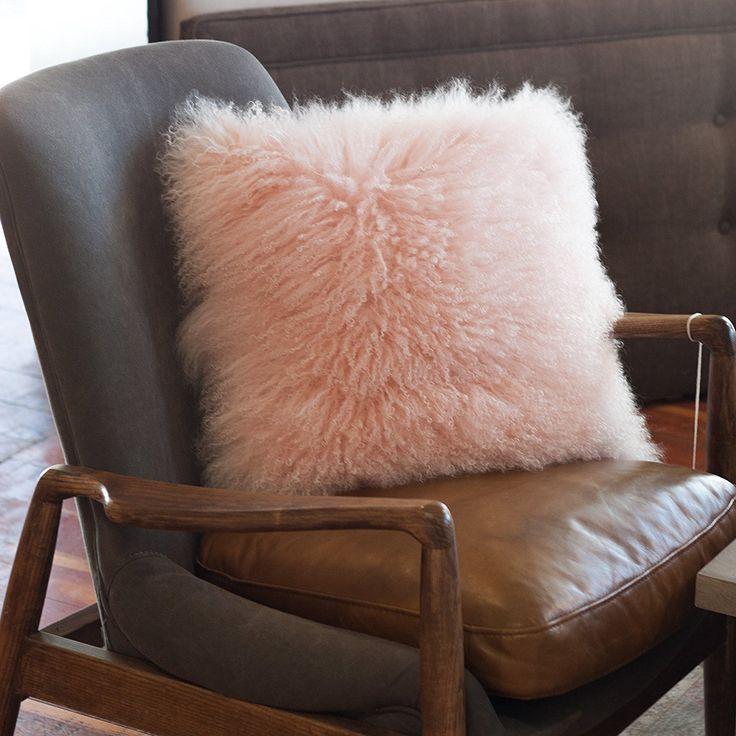 Amazon.com: Pillow Decor - 100% Mongolian Sheepskin Pastel Pink Throw Pillow: Kitchen & Dining