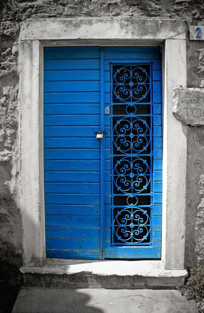 Beautiful blue door in Istria, Croatia.