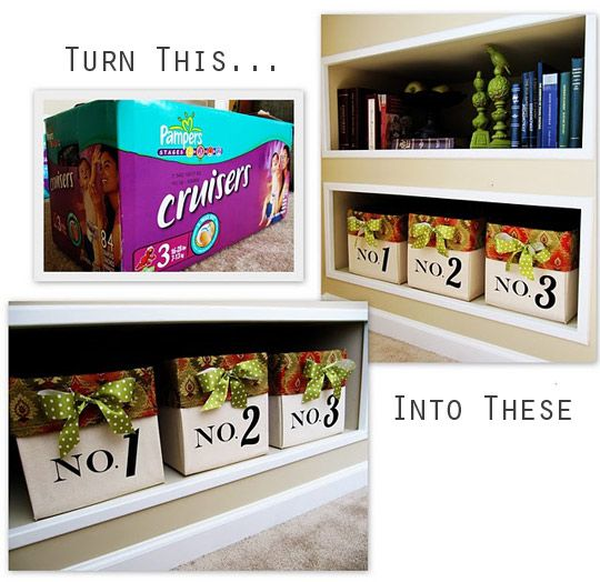 Turn old diaper boxes into nice looking storage solutions.