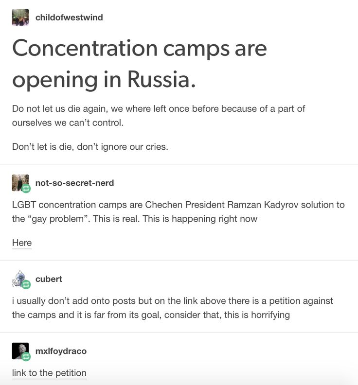 "And they're denying these camps by saying ""there's no gays in Russia"". We thought we were out of the dark but there's so much to be done, spread the word"