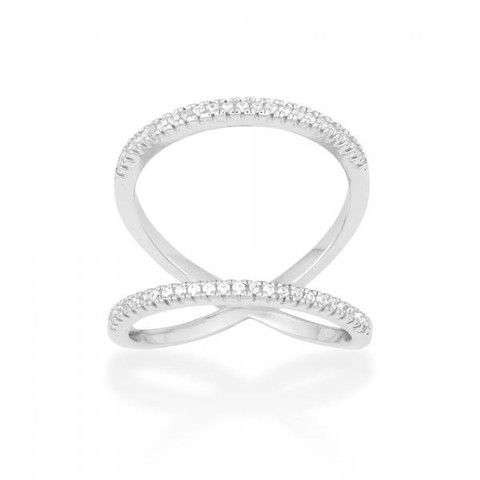 R028029 - Two Row Open Design Cubic Zirconia and Sterling Silver Ring