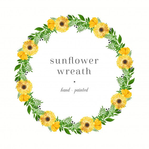 Bright Watercolor Wreath With Sunflowers In 2020 Wreath
