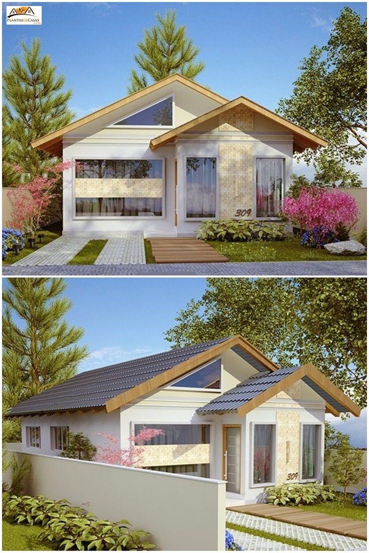 """Este projeto, com área de 69,82 m², foi pensado para atender uma família de até 5 pessoas. A casa é composta de uma cozinha estilo americano, sala de estar, 1 suíte, 2 quartos e 1 banheiro social. A casa """"Santo André"""" é um projeto de visual atraente e com excelente distribuição interna. Confira o projeto completo em: http://www.plantasdecasas.com/projetos/casa-santo-andre-pequena-com-3-quartos-e-suite/"""