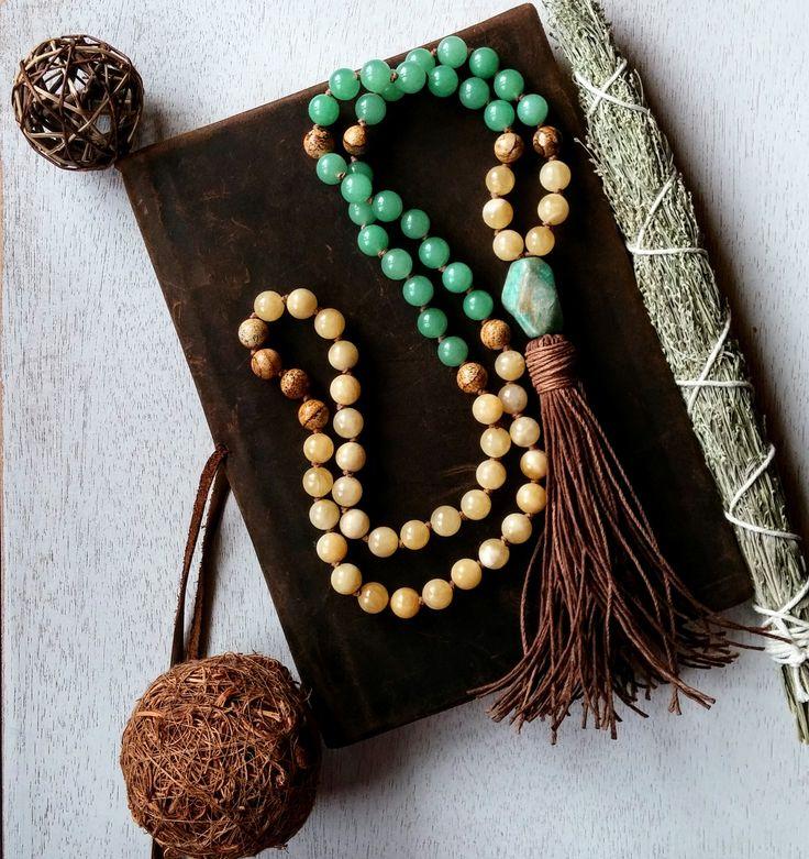 Yellow Calcite Prayer Beads, Green Aventurine Prayer Beads, Picture Jasper and Amazonite Prayer Beads, Joyful Optimistic Hemp Prayer Breads by MysticKeyMeditations on Etsy