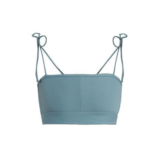 Made By Dawn Arrow ribbed bandeau bikini top (€105) ❤ liked on Polyvore featuring swimwear, bikinis, bikini tops, light blue, made by dawn, ribbed bikini, retro bikini top, light blue bikini top and retro swim wear