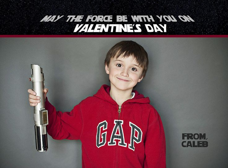 Punch holes at the end of the light saber, add glow stick, and you've got a super cute Valentine card for classmates!
