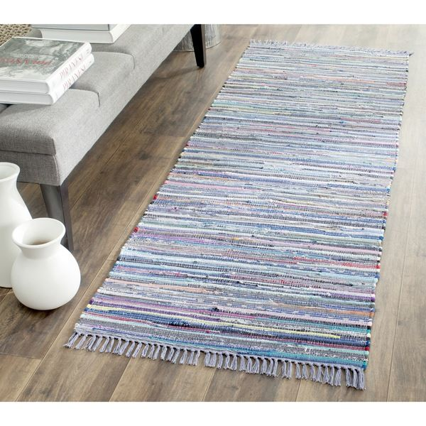 Safavieh Hand-woven Rag Rug Purple/ Multi Cotton Rug (2'3 x 9')