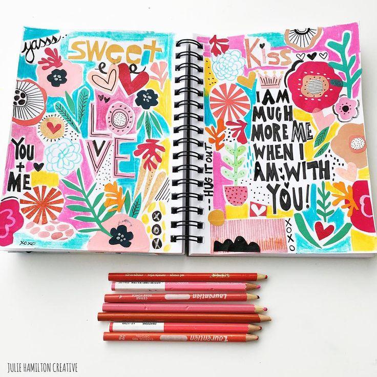 "JULIE HAMILTON (@juliehamiltoncreative) on Instagram: ""Dear You! Love, me."" Art journal page #sketchbook #mixedmedia"