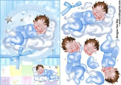 New Baby Boy Sleeping on a Cloud Decoupage on Craftsuprint designed by Sue Way - A really sweet card front for a new baby boy in shades of blue