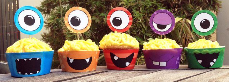 Monster party eyeball cupcakes