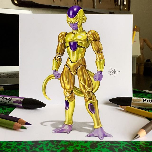 """Gold Frieza"" my new 3D drawing 😀 ->Done with promarker and polychromos pencils on A4 smooth Bristol paper. The result is not too bad I think 😅 Wip&video on @ms91art_wip 👀#3dart#drawing#freezer#dragonballz#ms91art"