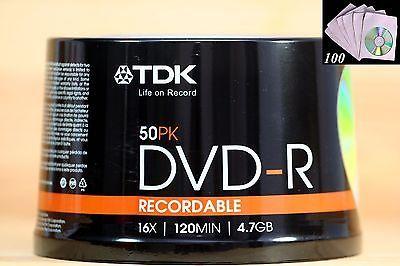 50 TDK 16X Blank DVD-R Discs 4.7GB Cake Box  100pcs White CD/DVD Paper Sleeve