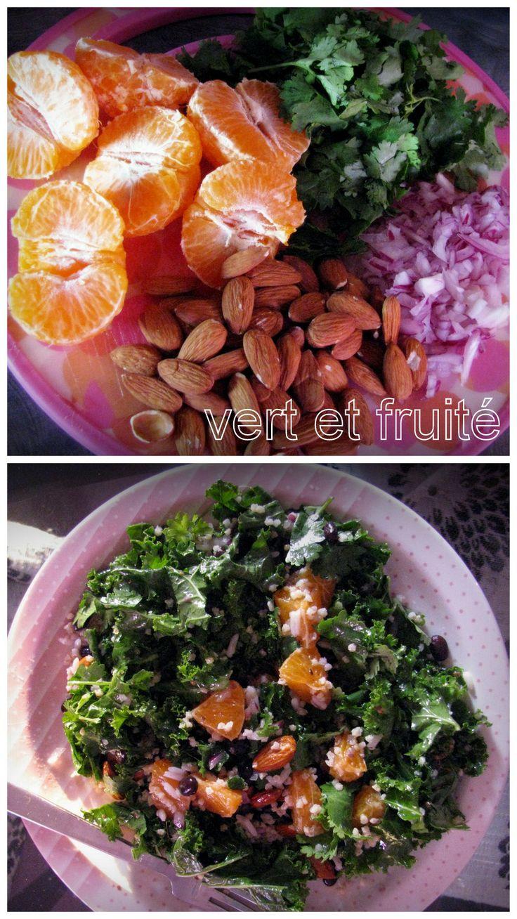 Salade de kale à l'orange et à la coriandre (sans gluten et végan) http://vertetfruite.com/salade-de-kale-a-lorange-et-a-la-coriandre/