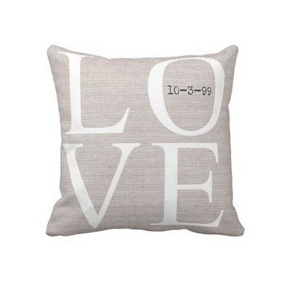 Personalized LOVE Wedding Pillow Anniversary Gift Cotton and Burlap Pillow Cover Choose your Date