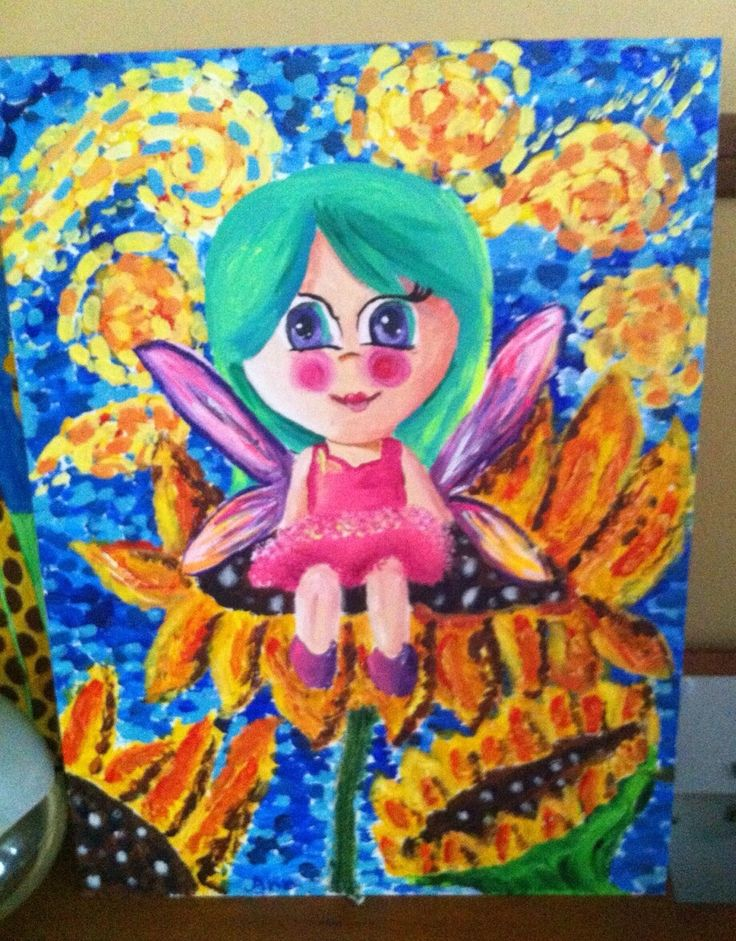 Sunflower Fairy - March 2015.  Art piece for Little Artists' Savants Exhibition at the Arts House.