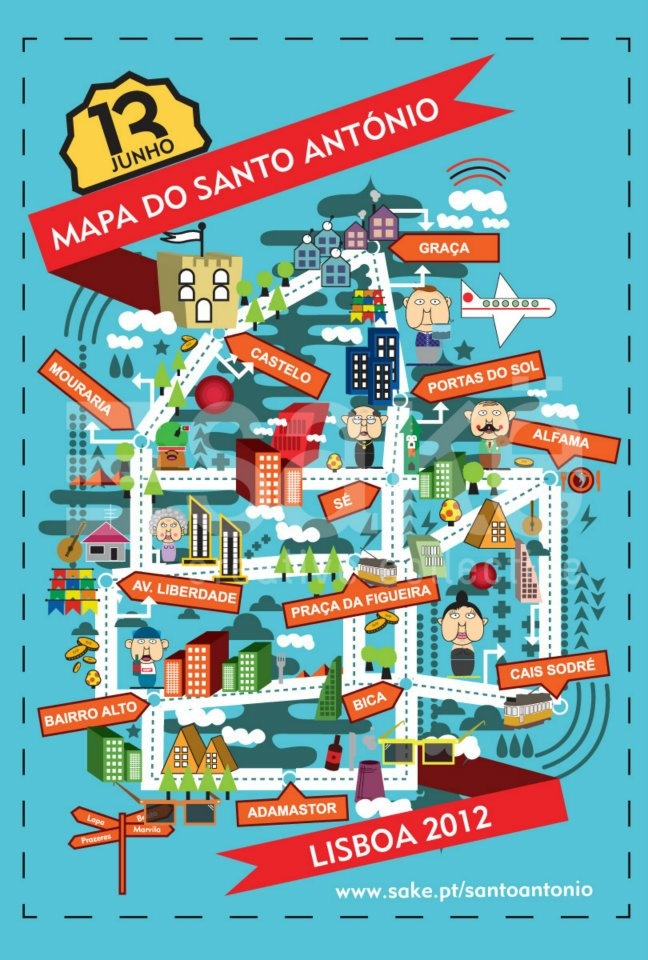"Map for the ""Santo Antonio street party"" held every summer, for the commemoration of the city of Lisbon. #Map #MapDesign #GraphicDesign"