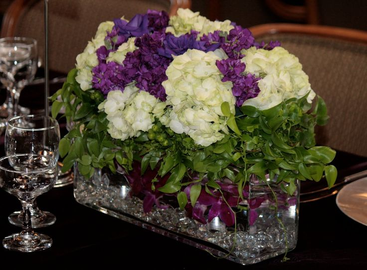 Purple and green hydrangea centerpieces pixshark