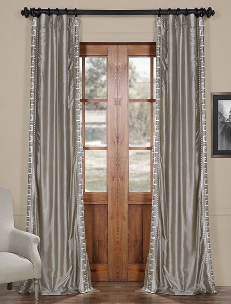 Greco Platinum Embroidered Faux Silk Curtain - SKU: EFSCH-2016F4 at https://halfpricedrapes.com