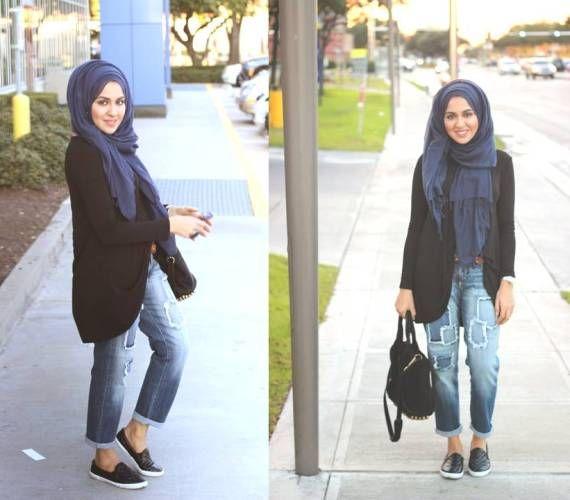 how to wear boyfriend jeans with hijab