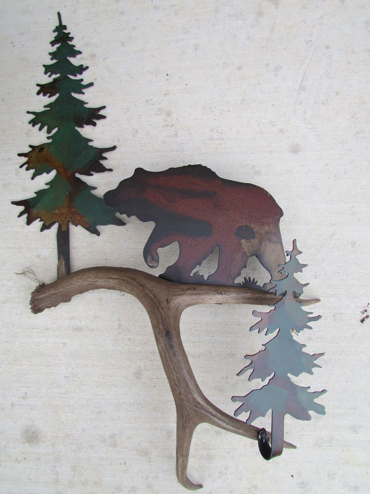 B118) Bear in the Pines, Authentic Antler & Metal Wall Art