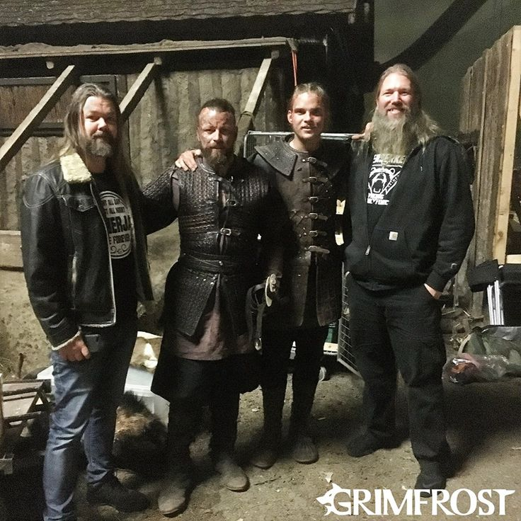 Arve and JH hanging out with some of the cast from Vikings