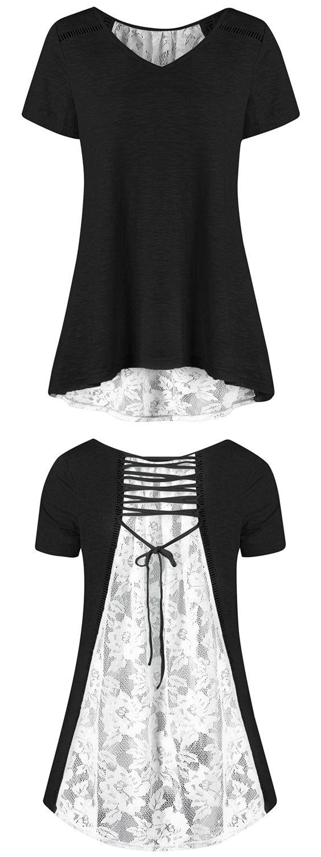 Black t shirt plain front and back - V Neck Floral High Low Hem Lace Back T Shirt