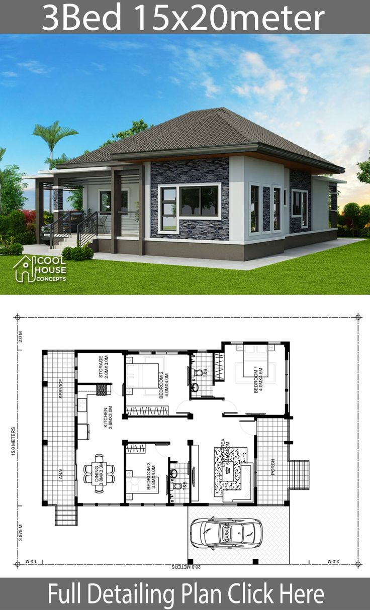 Home design plan 15x20m with 3 Bedrooms Philippines