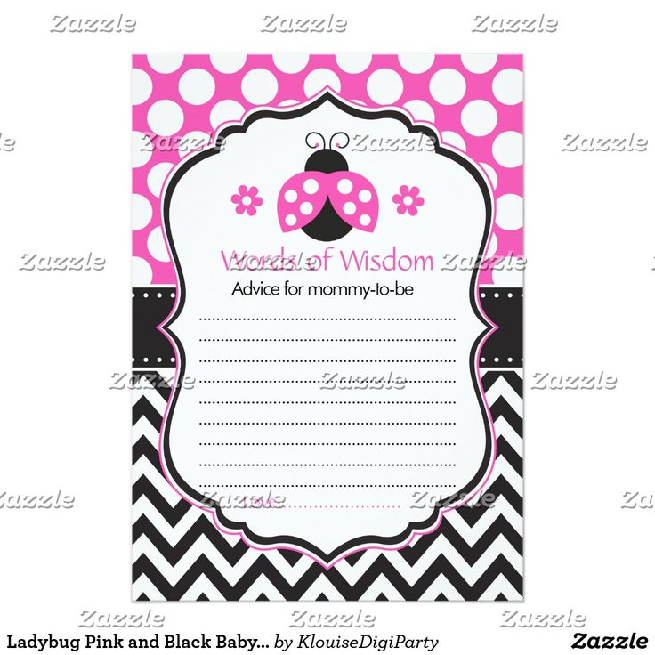 Ladybug Pink and Black Baby Shower Words of Wisdom Card