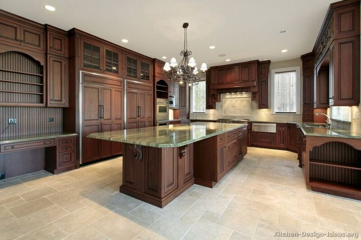 Kitchen, : Awesome Ideas For Kitchen Galley Decoration Using Mahogany Wood Kitchen Cabinet Including Cream Granite Breakfast Bar And Cream Travertine Tile Kitchen Flooring