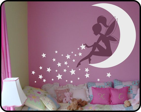 FAIRY Wall Decal Sitting on Moon w/ Pixie Dust Stars Vinyl Wall Decal