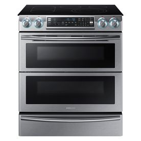 Samsung Slide-In with Wi-Fi 30-in Smooth Surface 5 3.3-cu ft/2.4-cu ft Double Oven Convection Electric Range (Stainless Steel)